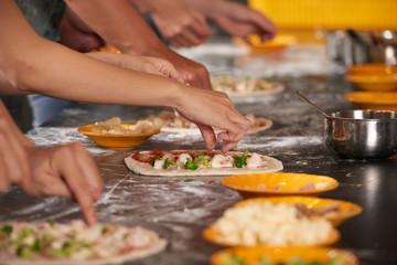 Pizza making process