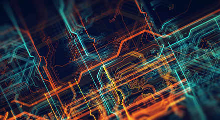 Printed circuit board in the server  executes the data/Abstract technological background made of different element printed circuit board and flares. Depth of field effect. 3d Render Wall mural