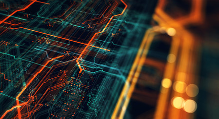 Wall Mural - Printed circuit board in the server  executes the data/Abstract technological background made of different element printed circuit board and flares. Depth of field effect. 3d Render
