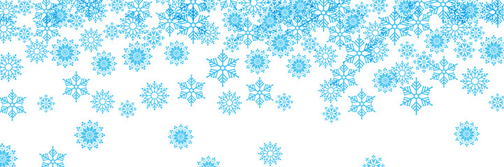 Vector banner,  blue winter background with ice and snow