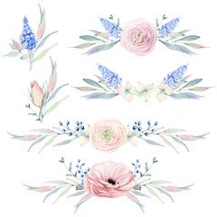 Handpainted watercolor flowers set in vintage style.