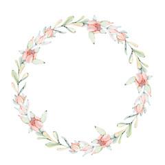 Elegant watercolor flowers circle  frame