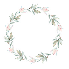 Elegant Watercolor Flowers Circle Frame