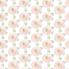 Handpainted watercolor flowers seamless pattern.