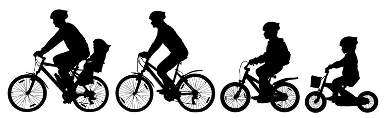 Man woman and children boy and girl on a bicycle riding on a bike, cyclist set, silhouette vector Fototapete