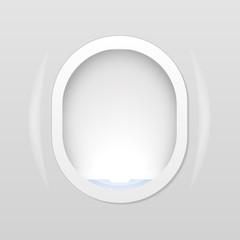 Closed Aircraft window. Plane porthole isolated on transparent background. Vector illustration.