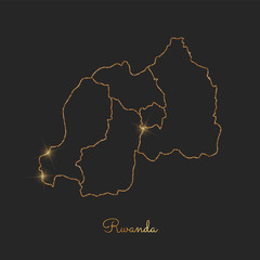 Rwanda region map: golden glitter outline with sparkling stars on dark background. Detailed map of Rwanda regions. Vector illustration.