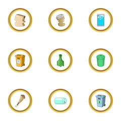 Waste icons set, cartoon style
