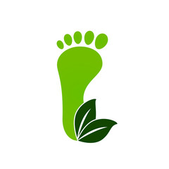 Eco green footprints icon. Vector illustration.