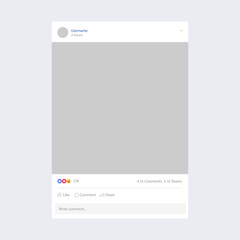 Mobile photo frame template inspired by Facebook. Social network concept. Vector illustration