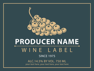 Vector label for bottle of wine with bunch of grapes in a retro style