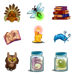Halloween symbols - owl, mask, insect, book of spells, formalin mutant, candle. Nine vector icons set isolated on white background