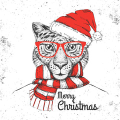 Christmas Hipster fashion animal cheetah dressed  a New Year hat and scarf