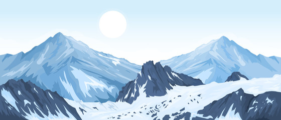 Poster Bleu clair Panorama of mountain peaks