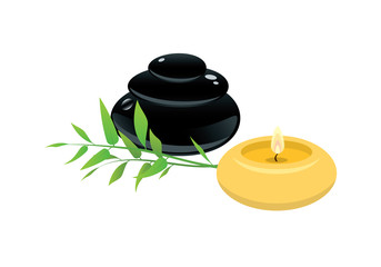 Spa vector images. Candle and lava stones on a white background