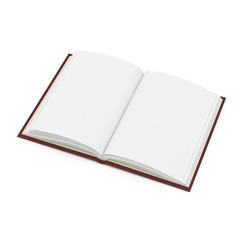 Vintage blank open notebook isolated on white. 3D illustration