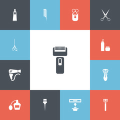 Set Of 13 Editable Tonsorial Artist Icons. Includes Symbols Such As Exhauster, Clippers, Hackle And More. Can Be Used For Web, Mobile, UI And Infographic Design.