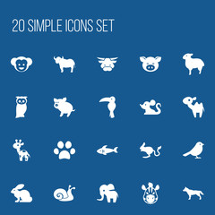 Set Of 20 Editable Zoology Icons. Includes Symbols Such As Horse, Dog, Giraffe And More. Can Be Used For Web, Mobile, UI And Infographic Design.