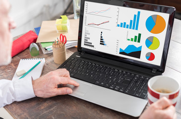 Graphical analysis concept on a laptop screen