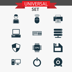 Device Icons Set. Collection Of Database, Motherboard, Broadcast And Other Elements. Also Includes Symbols Such As Web, Keyboard, Microprocessor.
