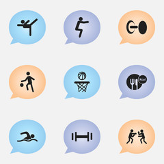 Set Of 9 Editable Training Icons. Includes Symbols Such As Healthy Food, Fight, Acrobatics And More. Can Be Used For Web, Mobile, UI And Infographic Design.