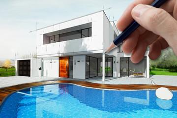 Esquisse d'une maison d'architecte avec piscine