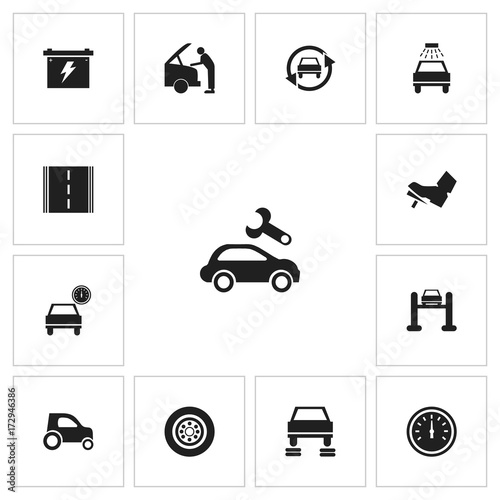 Set Of 13 Editable Vehicle Icons Includes Symbols Such As Car