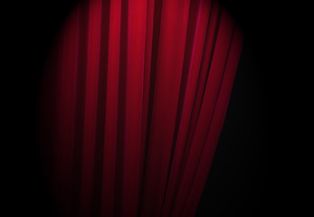 Red curtains at a theatre with half light for text or other ideas