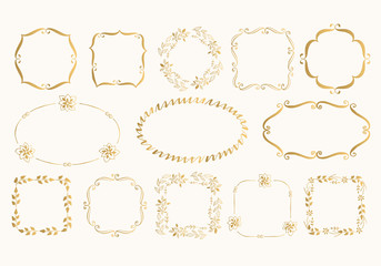 Set of flourish golden frames. Vector. Isolated.