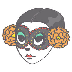 Colorful vector illustration of sugar skull girl head in Halloween style, isolated on white background