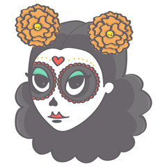 Cute sugar skull girl head in Day of the Dead style, isolated vector drawing on white background
