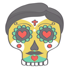 Sugar skull male head in Halloween style, colorful vector drawing isolated on white background