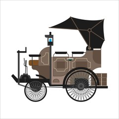 Old car or vintage retro collector automobile vector flat icon