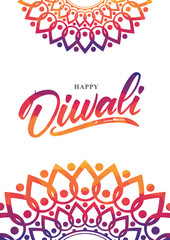 Colorful Indian greeting poster with Handwritten lettering of Happy Diwali. Vector illustration