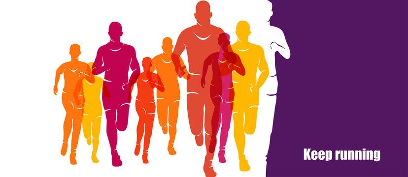 Running marathon, people run, colorful banner