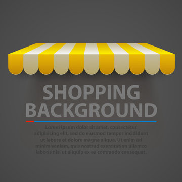 Store striped awning modern background. Vector
