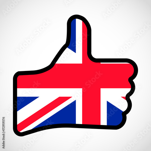 Flag Of Great Britain In The Shape Of Hand With Thumb Up Gesture Of