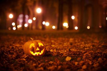 Kind Halloween Pumpkin in the park