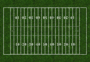 American football. Rugby field green grass, pitch, ground, isolated. Top view
