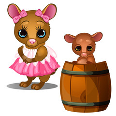 Female mouse in pink dress and baby mouse bathing in wooden barrel. Cartoon animals character for animation, childrens illustrations, book and other design needs. Vector isolated on white background