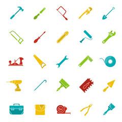 Construction tools glyph color icon set