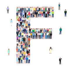 Letter F, different people, vector illustration