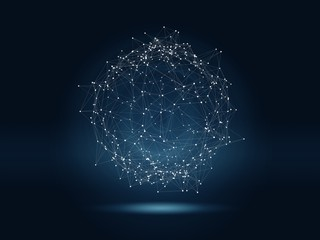 Futuristic hight technology background with connected glowing dots and lines. Virtual 3D illustration of polygonal sphere as global network concept.