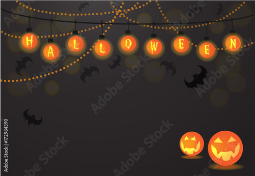 Halloween Light Balls Background Text Letters Vector For Card Party Night Trick