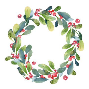 Watercolor Christmas wreath of green branch, leaves and berry