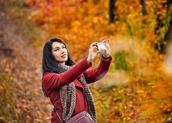 Selfie in autumn park