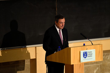 President of the European Central Bank Mario Draghi speaks at Trinity College in Dublin