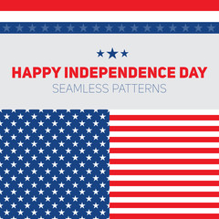 Independence Day in United States of America. Seamless patterns