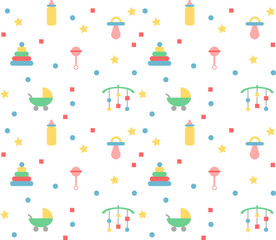 Baby pattern in pastel colours with toys & objects