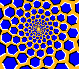 Optical illusion - blue hexagons moving on a yellow background